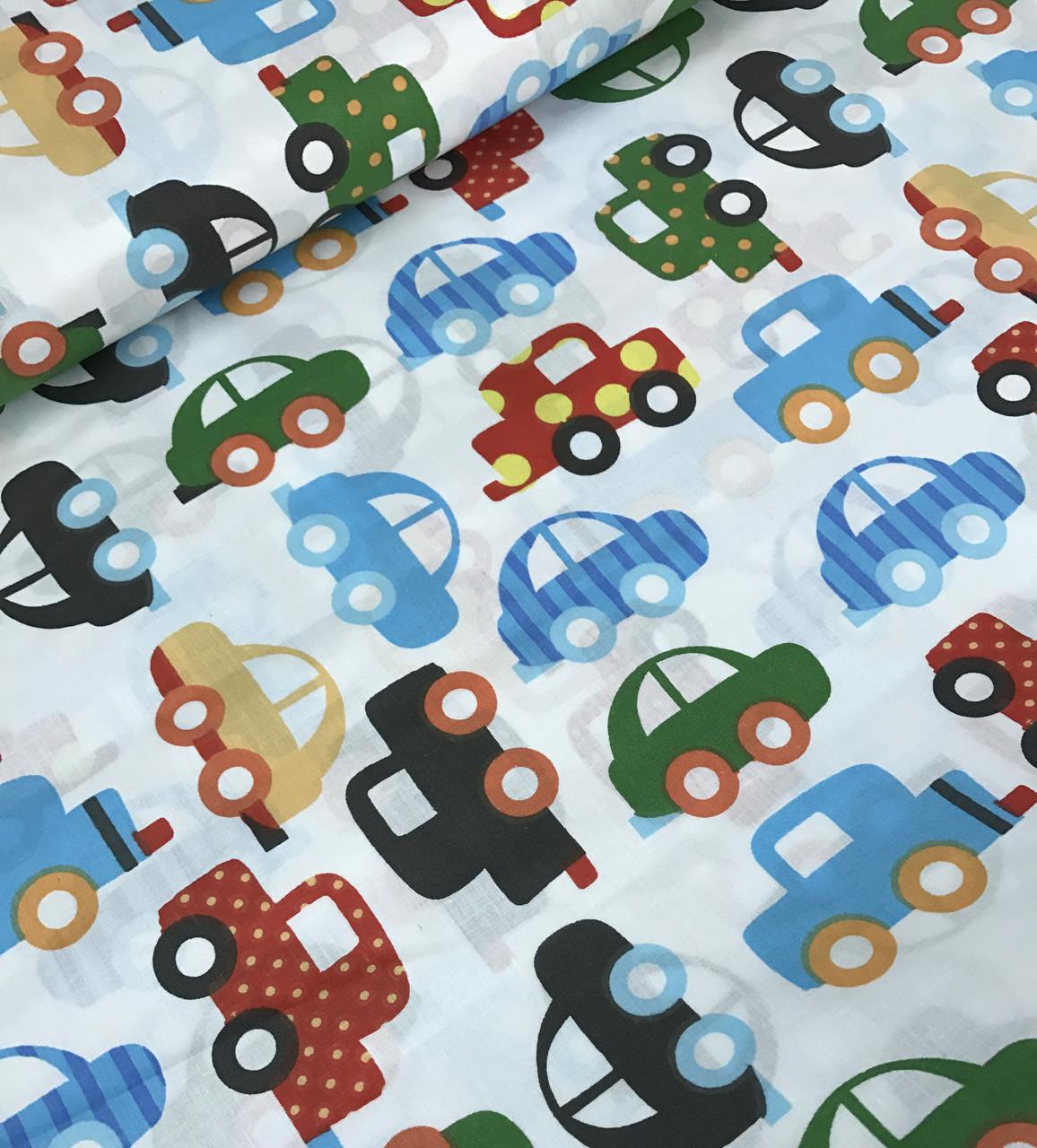 Хлопковая ткань польская машинки разноцветными