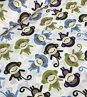Хлопковая ткань польская обезьянки разноцветные
