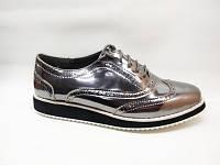 Туфли серебристые шнурок Т701