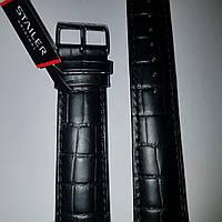 Кожаный ремень для часов Stailer- чёрный  ремень с выделкой под крокодил , полуглянец и подкладка из нубука