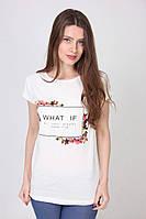 Белая женская футболка What if