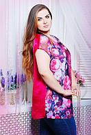 Атласная блуза с сеткой АЛЕКС розовый цветы