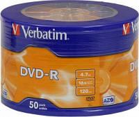 Диск DVD R Verbatim 4,7Gb, 16-скоросн 50шт в cake-упаковке Printable