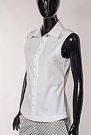 Блуза-рубашка женская белая хлопковая стрейчевая, без рукава.