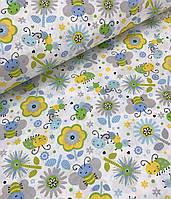 Хлопковая ткань польская пчелки желто-зеленые