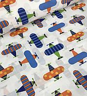 Хлопковая ткань польская самолеты разноцветные на белом