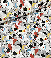 Хлопковая ткань польская собачки с разноцветными ушками
