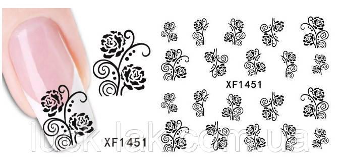 Водные наклейки маленькие черные завитки, розы XF1451