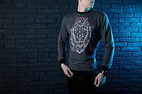 "Мужской СВИТШОТ Pobedov sweatshirts ""Сasual Animals"" Lion (Лев, Серый) Gray 🔥"