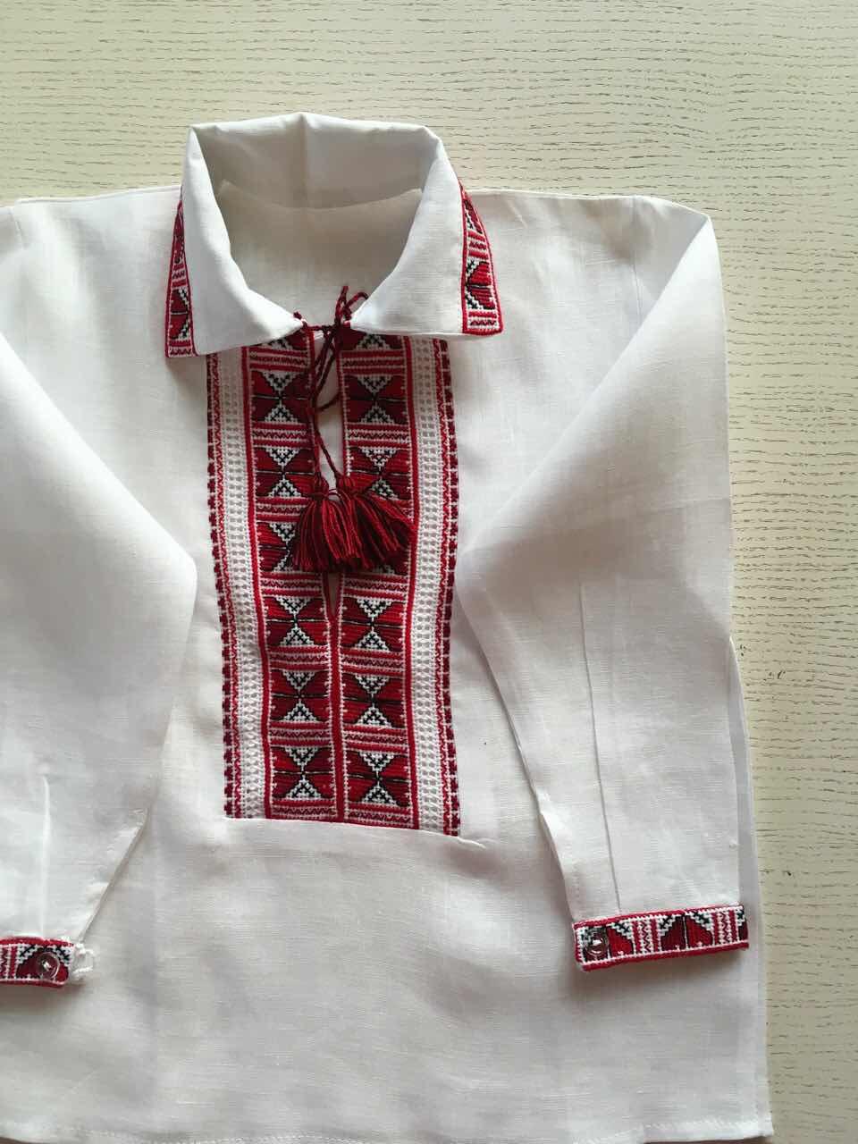 Сорочка вишита ручної роботи білий льон на 1-2 роки  продажа 6a21be5e3bd58