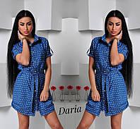 Платье-рубашка из тонкого джинса