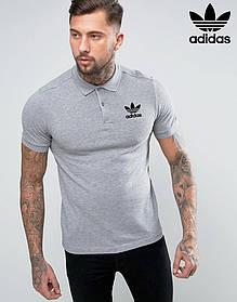 Футболка Поло Adidas| Серая тенниска Адидас