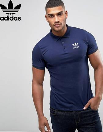 Футболка Поло Adidas | тёмно синяя тенниска Адидас, фото 2