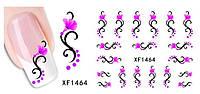 Водные наклейки кружевные завитки с цветами XF1464, фото 1