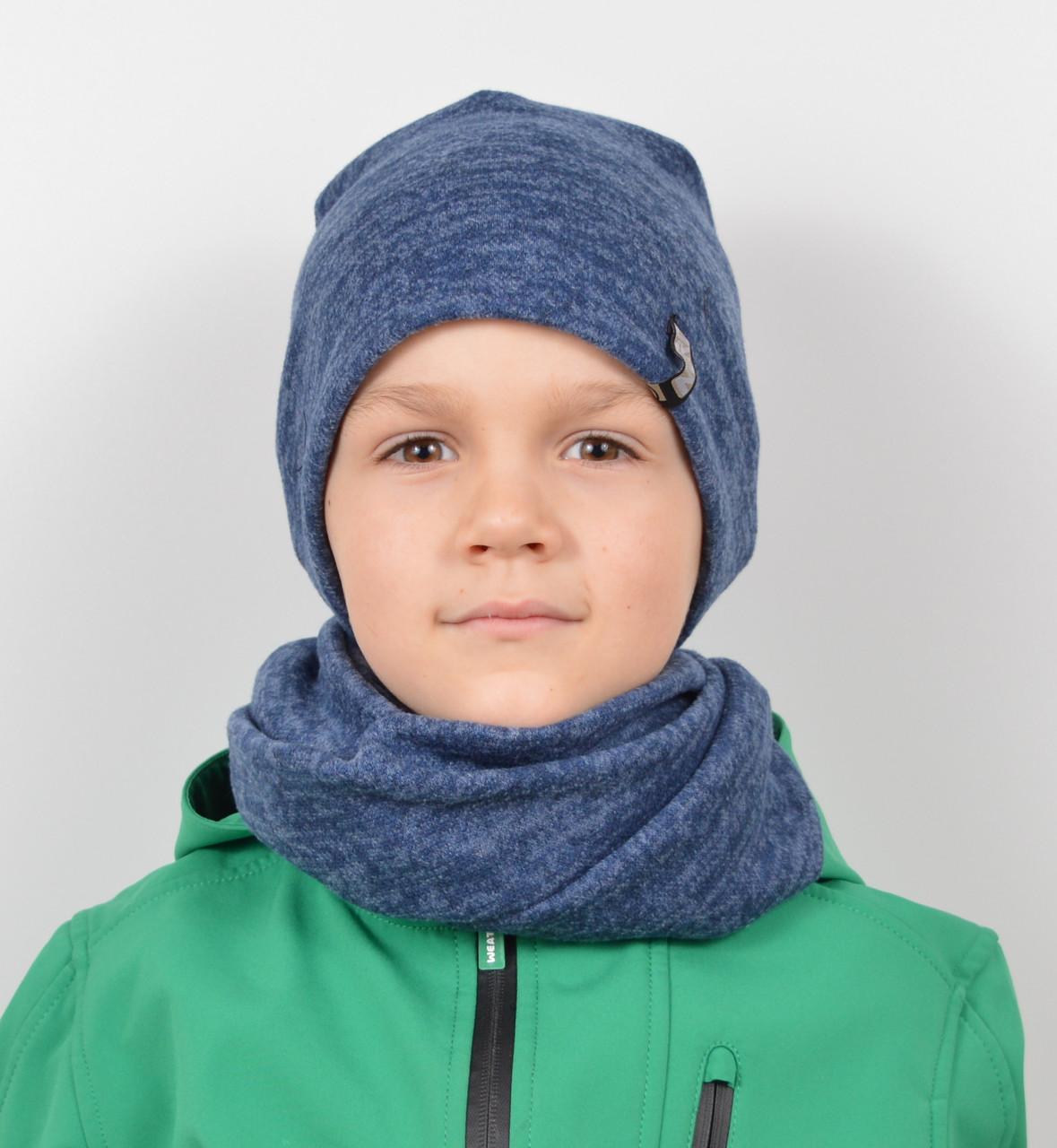 Трикотажный комплект(шапка+хомут)Ангора меланж