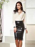 Стильная женская юбка-карандаш из искуственной кожи с гипюром р.42,44,46