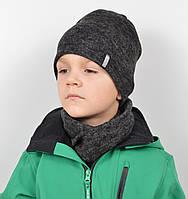 Трикотажний комплект(шапка+хомут)Ангора меланж