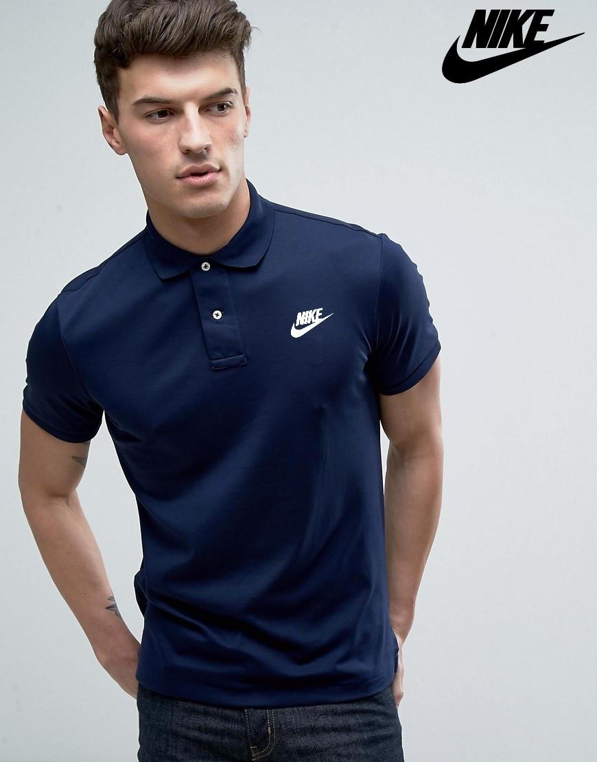 Футболка Поло Nike | Тёмно синяя тенниска Найк