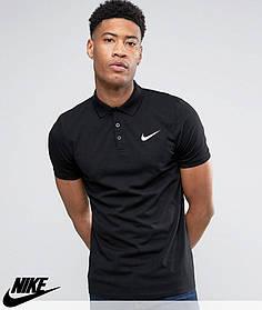 Футболка Поло Nike | Чёрная тенниска Найк лого