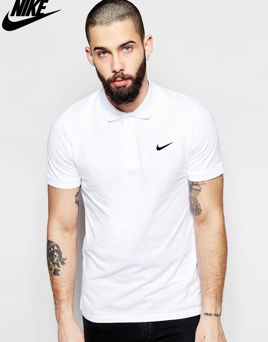 Футболка Поло Nike | Белая тенниска Найк лого