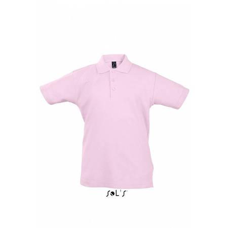 Детская рубашка поло розовая SOL'S SUMMER II KIDS, размеры от 4 до 12 лет, плотность 170 г/м2