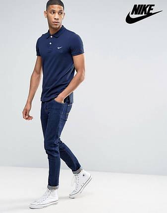 Футболка Поло Nike | Тёмно синяя тенниска Найк лого, фото 2