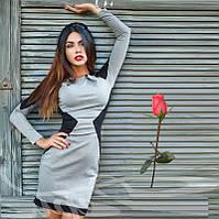Комбинированное повседневное платье Gr  13133  Серый