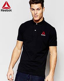 Футболка Поло Reebok | Чёрная тенниска Рибок