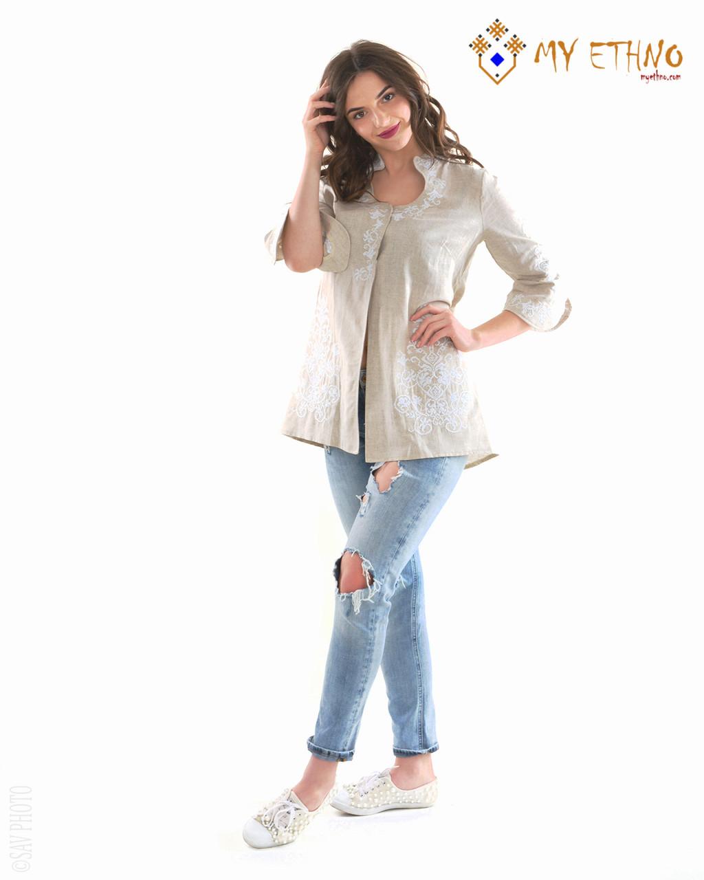 Вышитая рубашка женская Капелька серо-белая