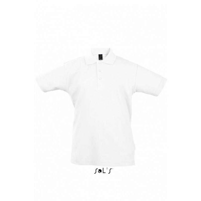 Детская рубашка поло белая  SOL'S SUMMER II KIDS, размеры от 4 до 12 лет, плотность 170 г/м2
