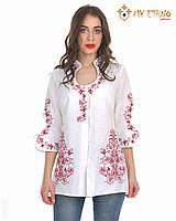 Вышитая рубашка женская Капелька бело-красная