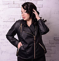 Модная  женская куртка- косуха с эко кожи  батал 48 -74 размер