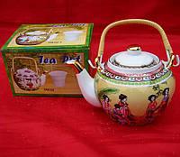 """Чайник фарфор с бамбуковой ручкой (750мл.)(TPR70) """"Бежевый"""""""