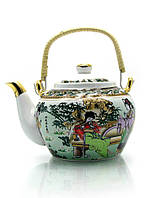 "Чайник фарфор с бамбуковой ручкой (750мл.)(TPR89) ""Музыканты"""