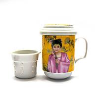 """Чашка заварочная с ситом (330мл.)(BFC161-13) """"Гейша"""" (h-13cм, d-7,5см)"""