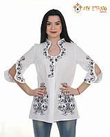 Вышитая рубашка женская Капелька бело-черная