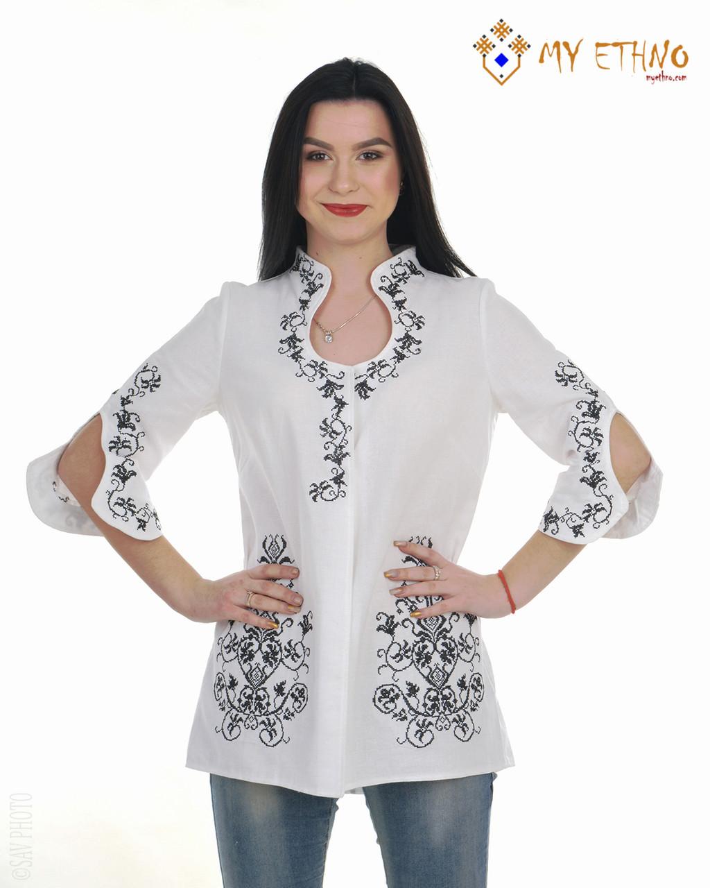 Вышитая рубашка женская Капелька бело-черная, фото 1
