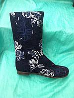 Сапог женский весна джинс цветы