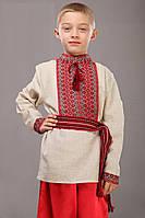 Вышитая рубашка для мальчика, красно-черная, длинный рукав. лён