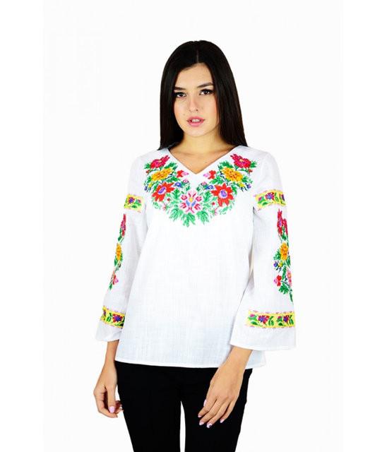 """Вышитая женская рубашка """"Полевые цветы"""" М-228-1 40"""