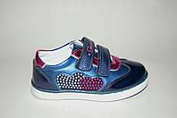 Стильные туфли для девочек полностью кожаные внутри с ортопедической стелькой синие р.26-31 на липучках