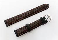 Ремешок кожаный Italian Classic для наручных часов, черный с красной перфорацией, 18 мм