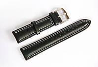 Ремешок кожаный Italian Classic для наручных часов, черный, 20 мм