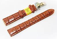 Ремешок кожаный Modeno Spain для наручных часов с застежкой клипсой, коричневый, 18 мм