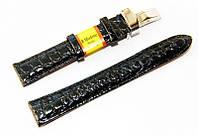 Ремешок кожаный Modeno Spain для наручных часов с застежкой клипсой, черный, 18 мм