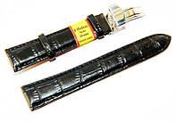 Ремешок кожаный Modeno Spain для наручных часов с застежкой клипсой, черный, 20 мм