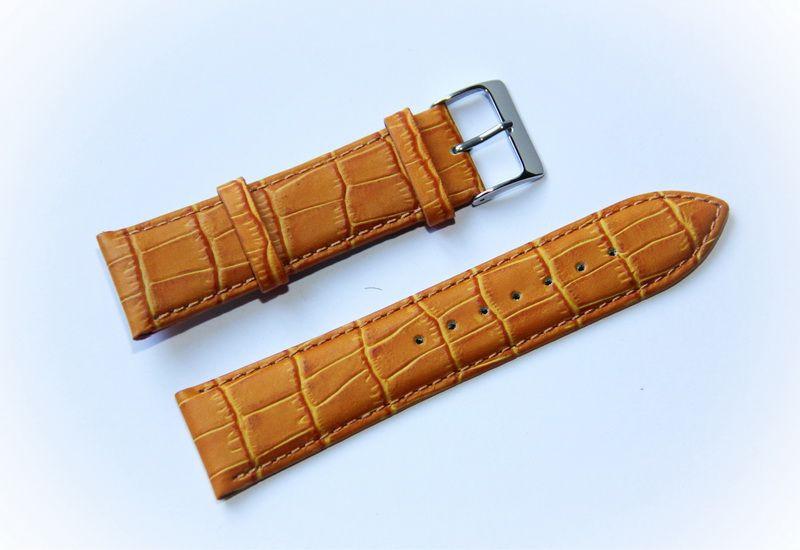 Ремешок кожаный Bandco Genuine Leather для наручных часов с классической застежкой, коричневый, 22 мм - Интернет-магазин AWATCH в Харькове