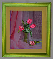 """Картина вышитая лентами """"Тюльпаны"""""""