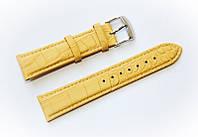 Ремешок кожаный Bros Cvcrro a Mano для наручных часов с классической застежкой, желтый, 20 мм