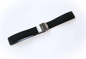 Ремешок каучуковый Nobrand для наручных часов с застежкой фиксатором, черный, 20 мм